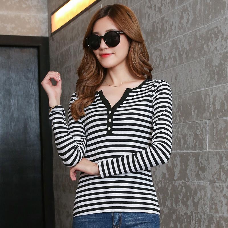 蔷朵秋冬新款韩版修身显瘦柔软棉质条纹长袖T恤大码女上衣打底衫