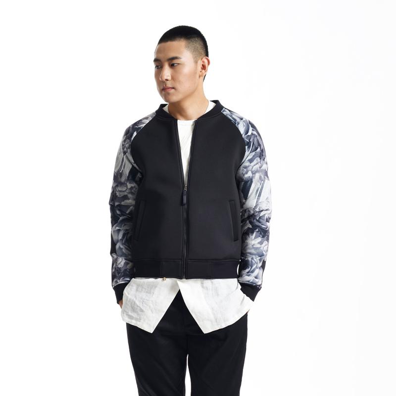 设计师原创 蓄 时尚男装早秋新品数码喷绘印花潮流棒球夹克衫卫衣