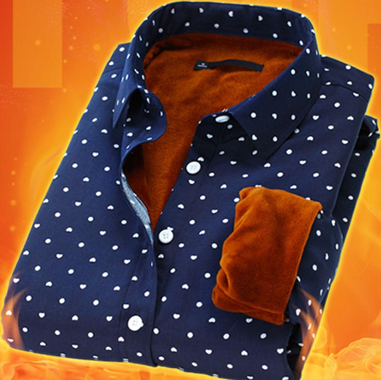 加绒加厚保暖衬衫男长袖格子衬衣修身秋冬款青年中老年外套上衣潮