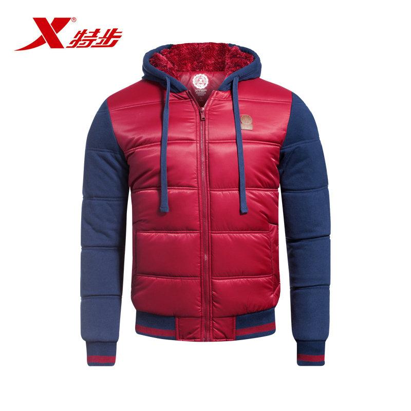 特步冬季新款男士休闲保暖厚棉服舒适时尚男款外985429180893