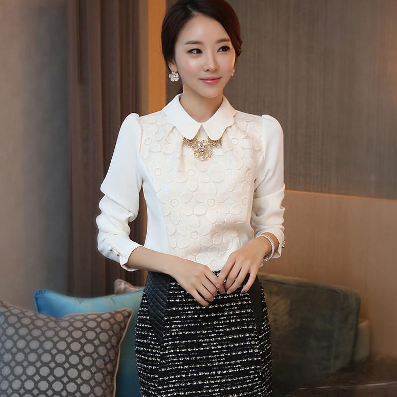 欧洲站CCDD韩国明星衬衫女2015春夏装新款大码职业蕾丝衫衬衣长袖
