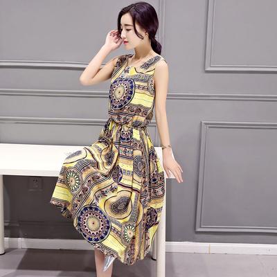 沫晗依美棉麻印花波西米亚沙滩裙62L80077