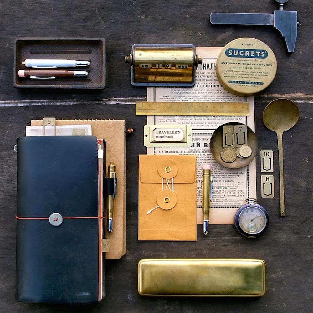 容易呆呆/升级MIDORI旅行者笔记本疯马真牛皮记事本标准随身款