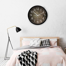 HICAT欧式创意木大号静音挂钟现代时尚客厅个性卧室石英时钟表
