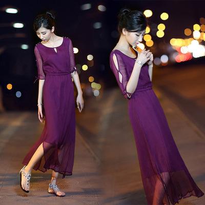[卖家促销] 2015韩版夏装新款女装大码显瘦气质修身长裙秋季真丝皱雪纺连衣裙