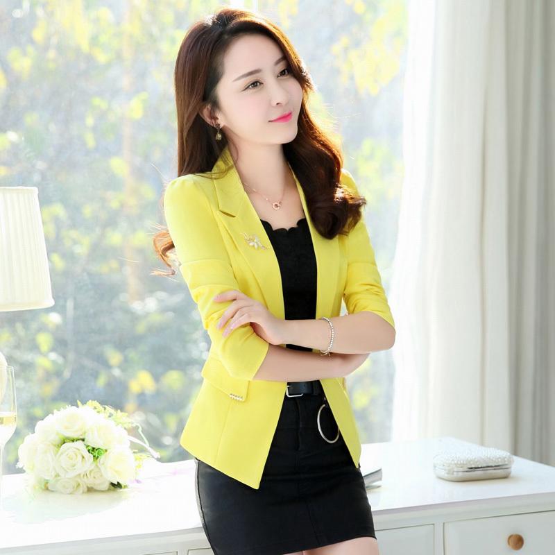 38374一粒扣小西装 长袖纯色外套西装领直筒上衣新BESTBAO正女装