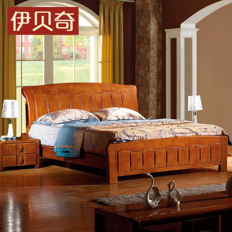 伊贝奇实木床 现代中式双人床1.5米1.8米加厚金胡桃色卧室橡木床