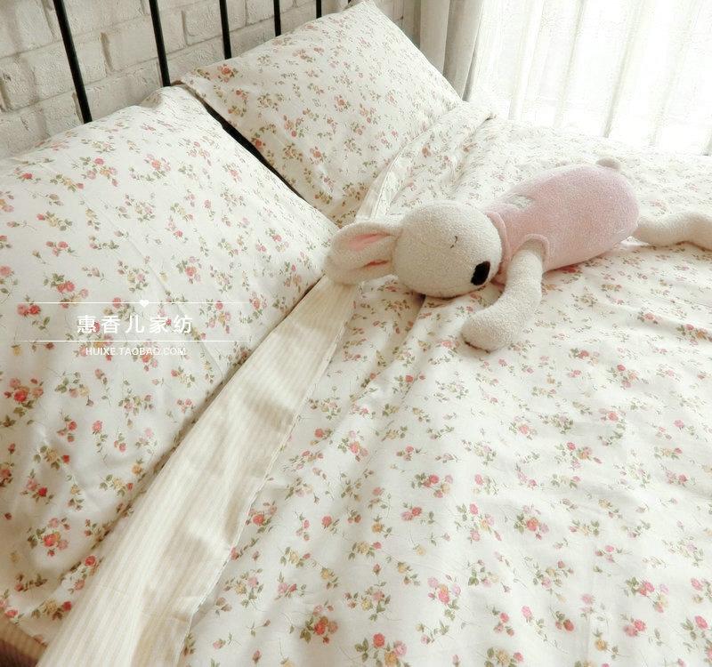 床单床上用品简约套件全棉韩式 纯棉四件套小碎花田园