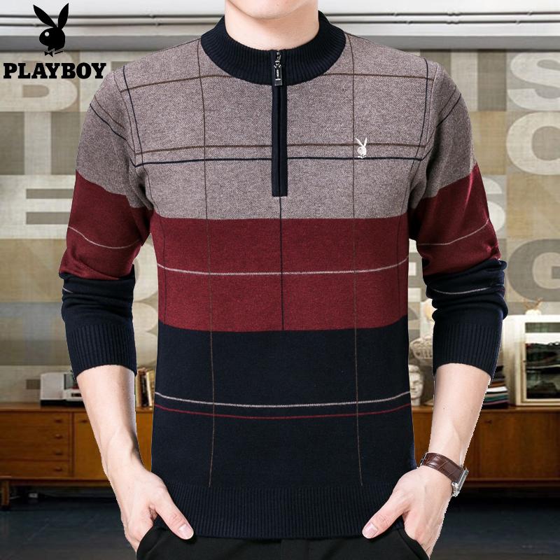 中年男士羊毛衫冬季花花公子半高领拉链毛衣宽松加厚针织衫爸爸装