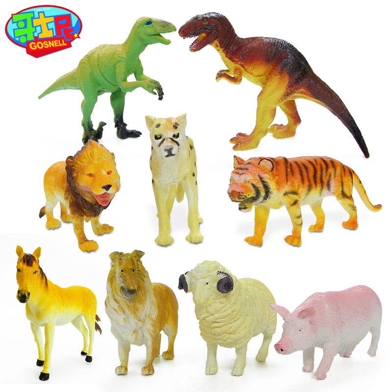 哥士尼动物玩具套装仿真恐龙模型狗猪儿童礼物农场龙