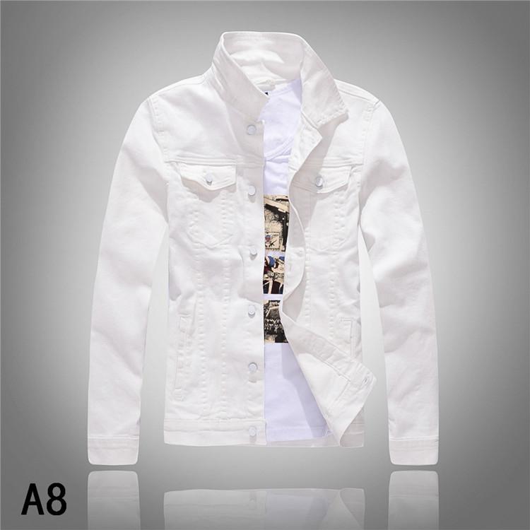 A8春秋新款韩版牛仔夹克男修身长袖牛仔外套男士白色水洗牛仔上衣