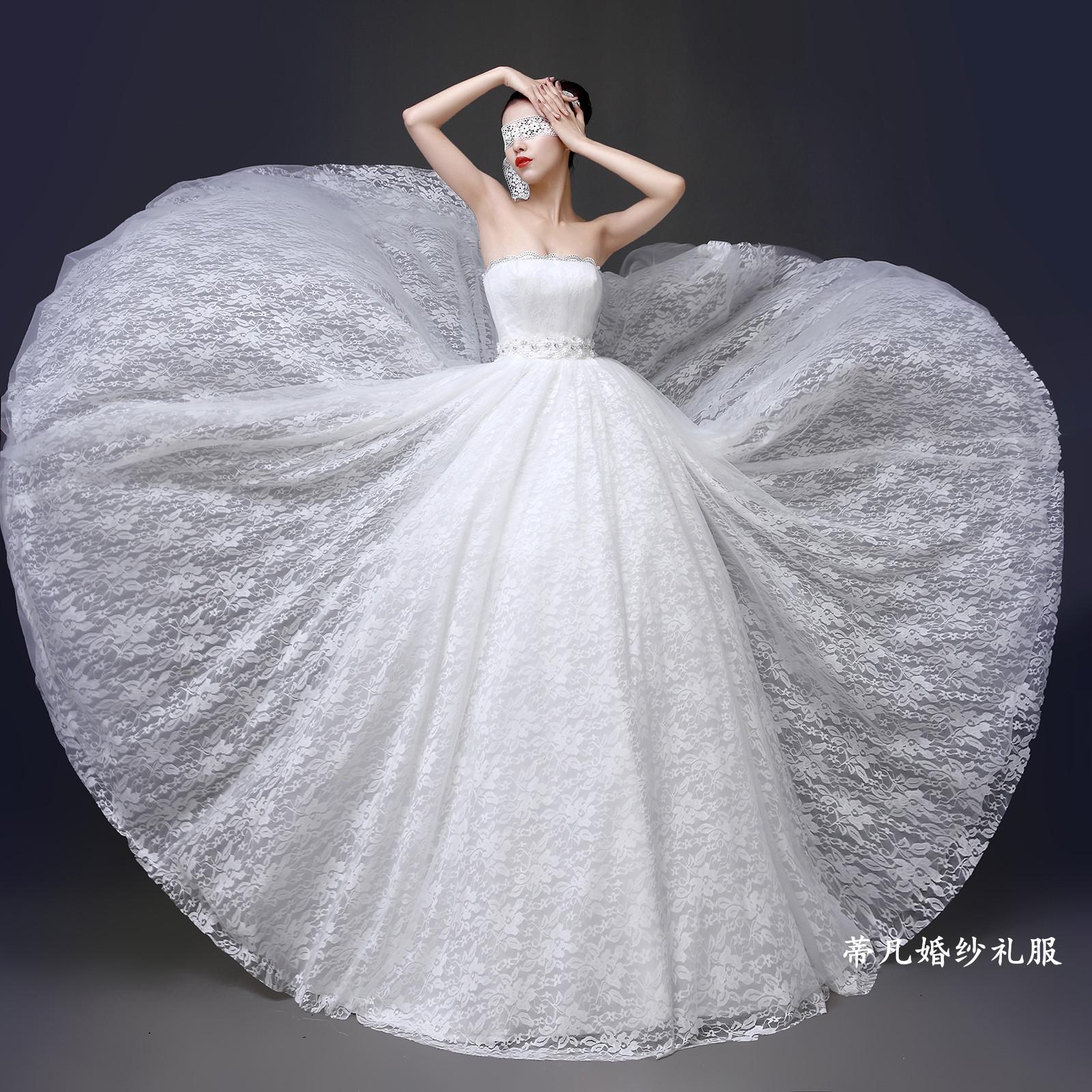 婚纱礼服2014新款冬季韩版时尚新娘婚纱抹胸型齐地修身显瘦 蕾丝