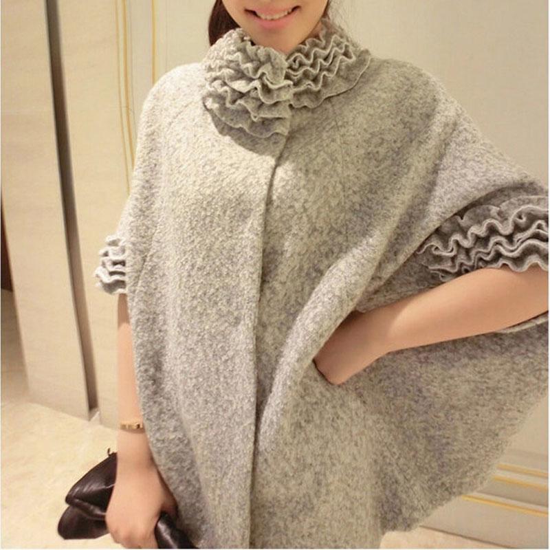 秋冬装新款斗篷毛呢外套 蝙蝠袖女装保暖披肩小香风羊绒呢子大衣