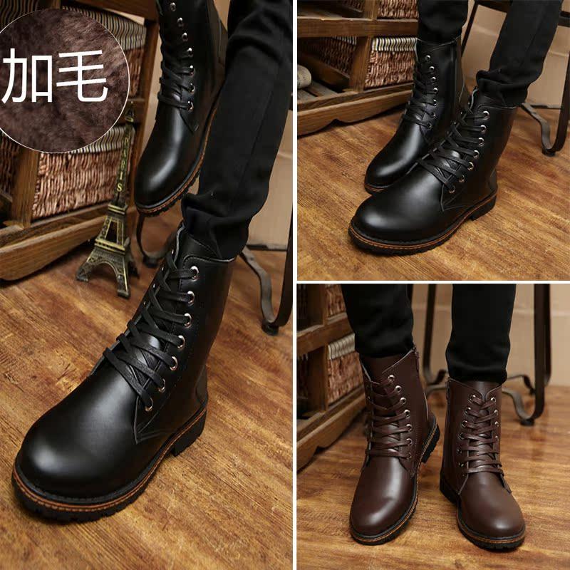 冬季男士棉鞋雪地靴中筒工装男靴保暖军靴韩版皮靴子加绒马丁短靴