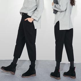秋冬阔腿裤毛呢裤子萝卜裤哈伦裤女裤直筒九分裤韩版休闲裤黑宽松