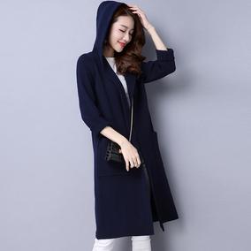 秋冬带帽针织衫中长款大码羊绒外套韩版修身仿呢大衣外搭毛衣披肩