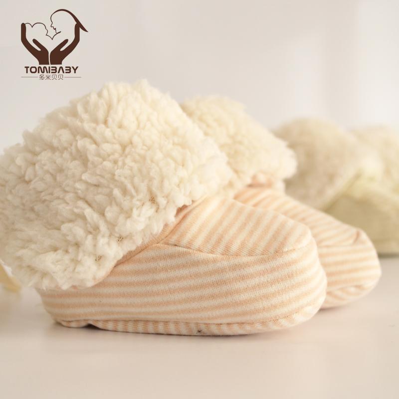 多米贝贝婴儿鞋子软底秋冬羊羔绒靴有机棉新生儿保暖脚套婴儿棉靴