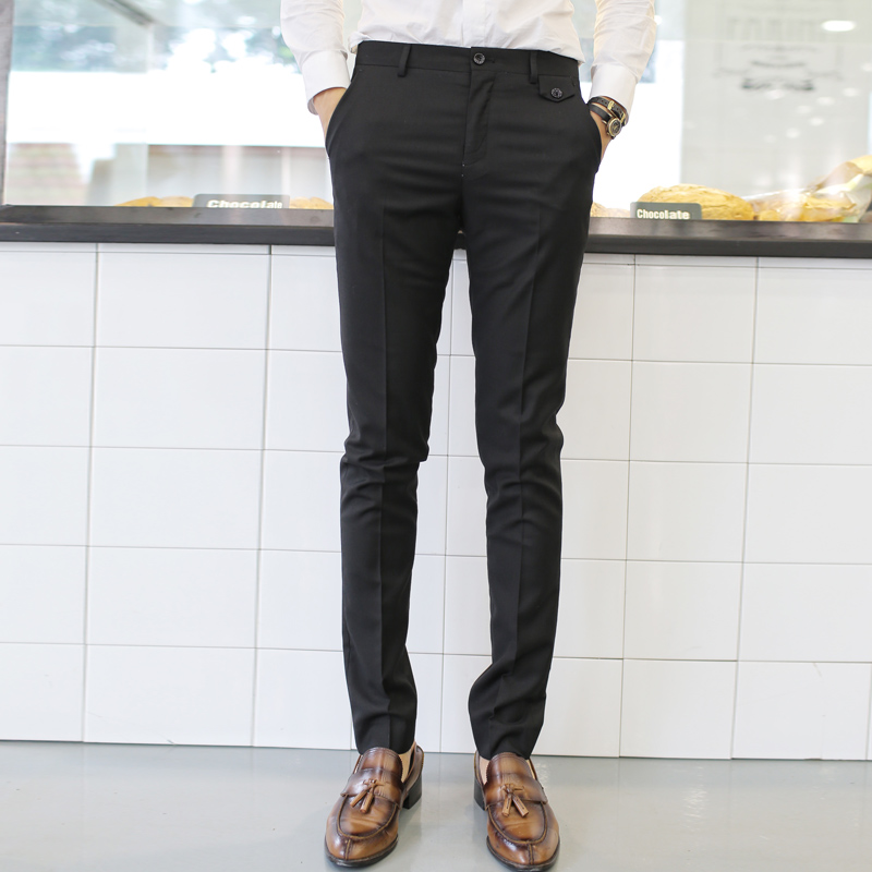 男士西裤薄款韩版修身小脚西服裤英伦西装裤夏季男装裤子黑色西裤