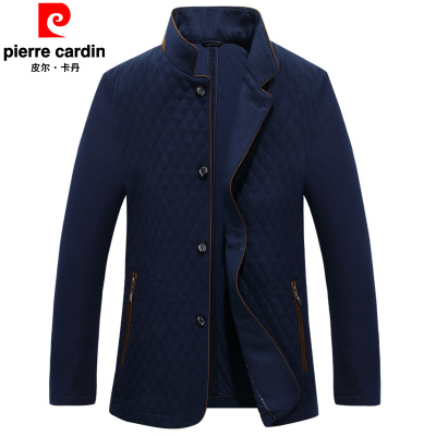 [新款促销] 皮尔卡丹冬季新款中年男商务休闲羊毛呢子棉衣外套薄款爸爸装棉服