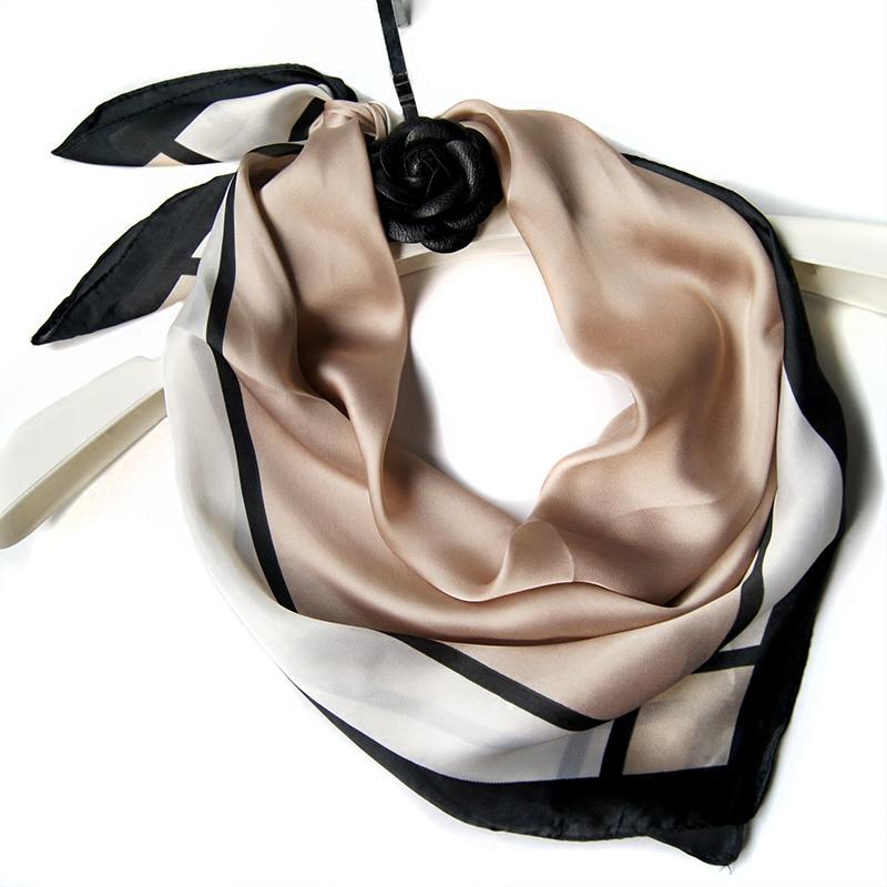 方巾絲巾夏季 韓國春秋紗巾圍巾 絲綢職業條紋白領防曬