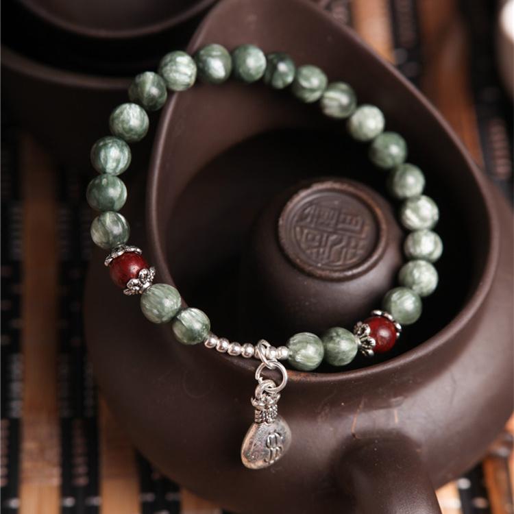 【运转灵时】包邮原创天然绿龙晶高贵气质简约女神手链 女礼物