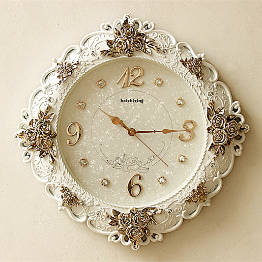 欧式挂钟静音客厅时钟表巴洛克式创意挂表田园复古壁