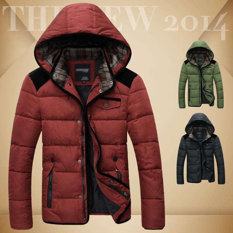 2014冬季新款男装 时尚都市简约纯色可脱卸帽保暖男士棉衣 棉服