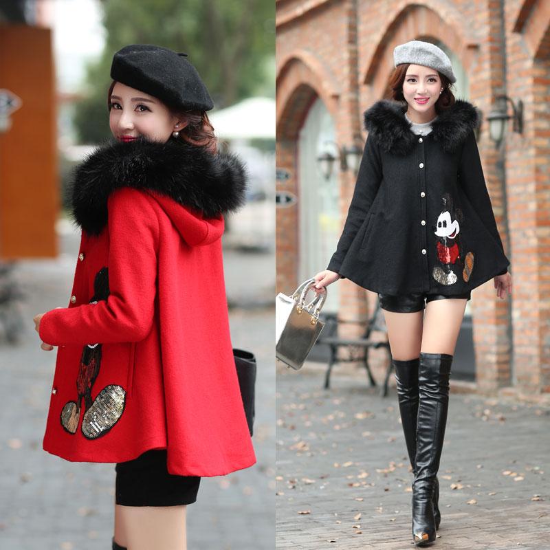 2014秋冬装新款大码毛呢外套韩版淑女短款潮修身斗篷甜美呢子大衣