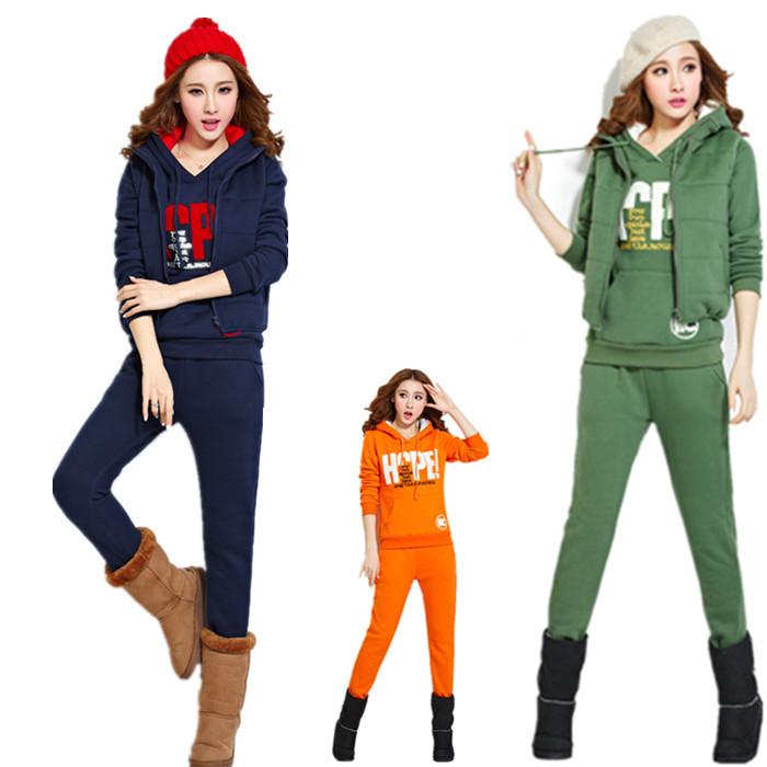 2014新款潮上衣长裤子字母印花两件套头卫衣女装修身显瘦中长款冬