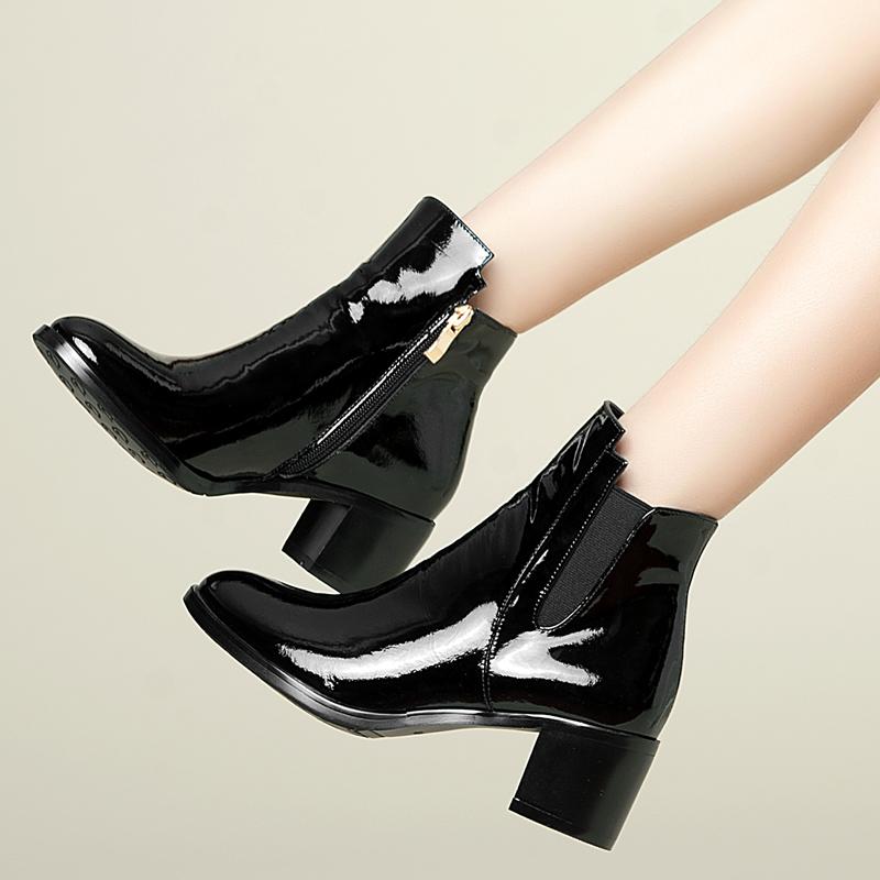 春秋季真皮马丁靴 女士英伦风粗跟短靴 2014新款漆皮中跟女靴单靴