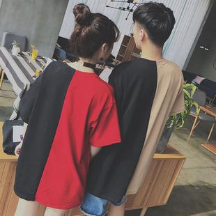 情侣装夏装2017新款韩版搞怪上衣学生短袖潮宽松qlz个性情侣T恤女