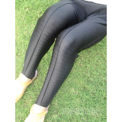 健美裤踩脚裤紧身裤打底裤靴裤 黑色老式条纹弹力有光现货特价