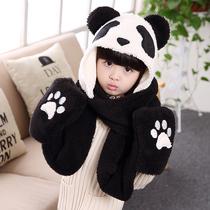 夏本16秋冬新款儿童熊猫毛毛围巾手套帽子一体加绒卡通可爱围脖