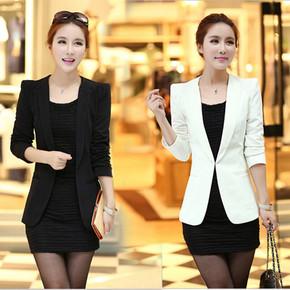 韩版春秋小西装女职业休闲西服长袖西装短外套中款黑色西装女修身