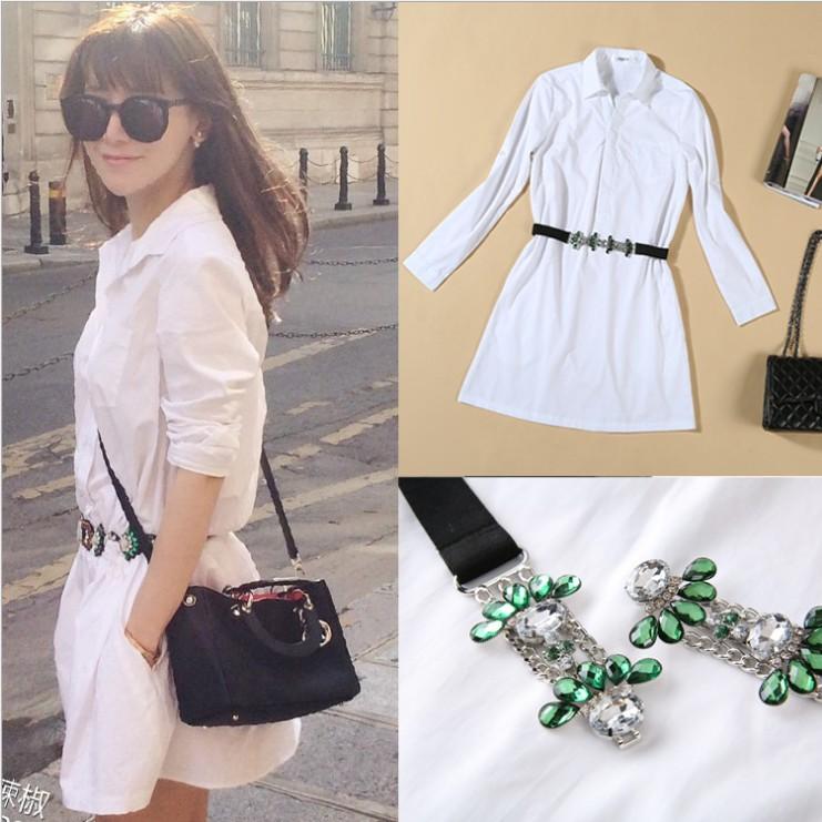 卓雅2014秋正品代购艾薇欧美女装新款小辣椒明星同款白色长款衬衫