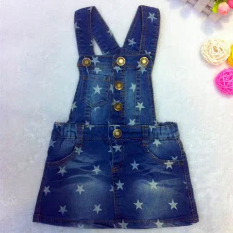 2014新款背带裙女童吊带裙星星儿童背心裙秋装厂家直销牛仔裙