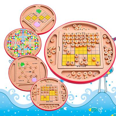 益智桌游五合一多功能成人儿童玩具 数独棋 九宫格木质 飞行棋