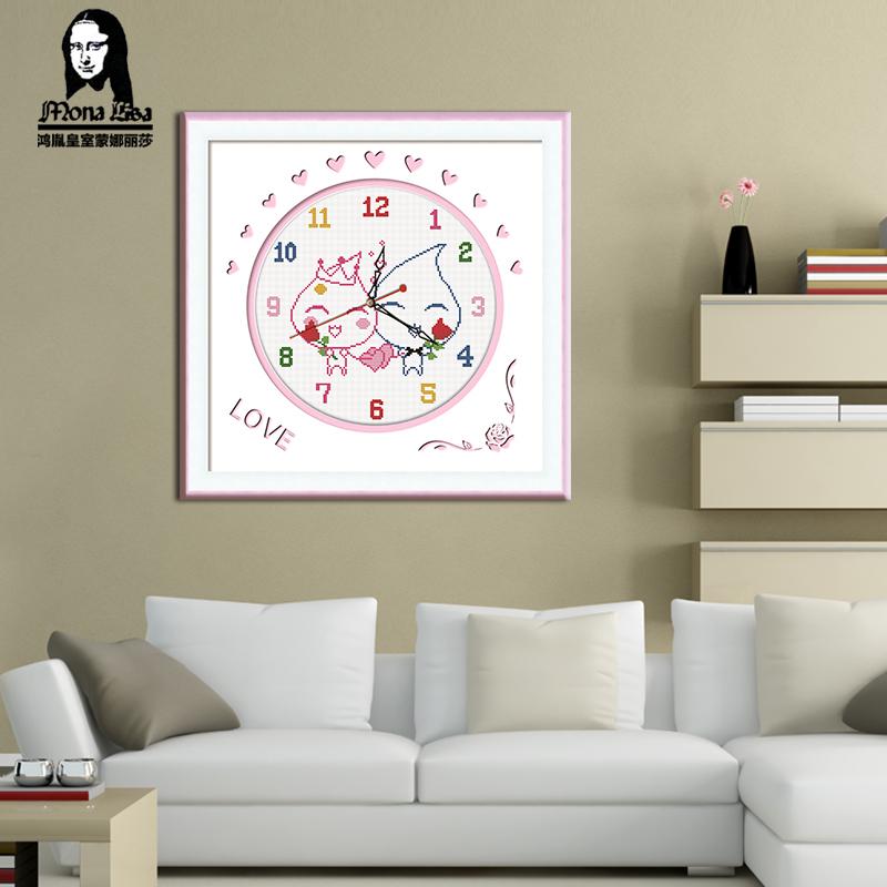 蒙娜丽莎十字绣情侣系列卡通动漫卧室结婚款小幅简单新手钟表挂画