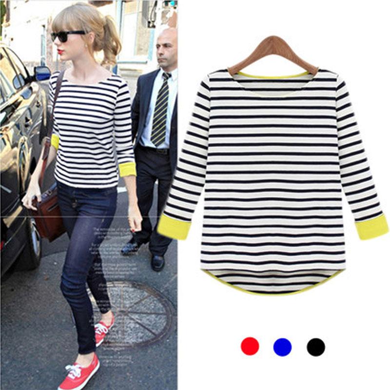2015秋季新品女装欧美大码宽松显瘦七分袖海军风条纹T恤女打底衫