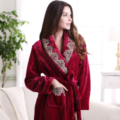 秋冬季新款珊瑚绒睡衣女士长袖法兰绒睡袍女冬加厚浴袍女家居服