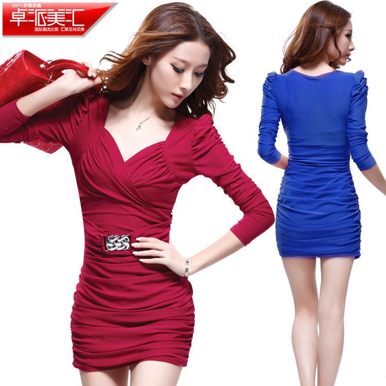 春季女装新款韩版水晶棉性感时尚打底显瘦V领包臀长袖修身连衣裙