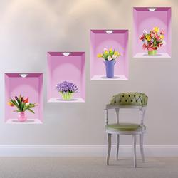 3D立体贴画客厅餐厅走廊楼梯墙壁装饰墙贴纸卧室温馨花瓶仿真盆栽