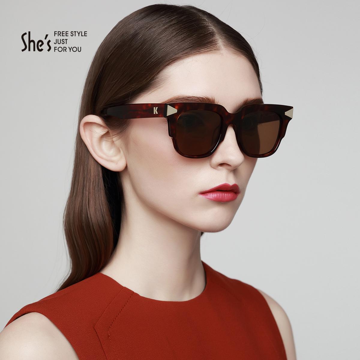 促shes茜子配饰新品 箭头装饰板材偏光太阳眼镜 驾驶梯形墨镜