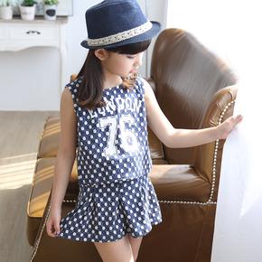 童装女童短裙套装夏季儿童两件套裙装2015夏装新款中小童裙子套裙