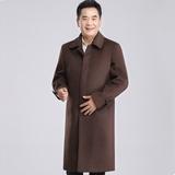 秋冬季中老年爸爸男装大衣过膝长款毛呢子羊绒大衣呢外套风衣