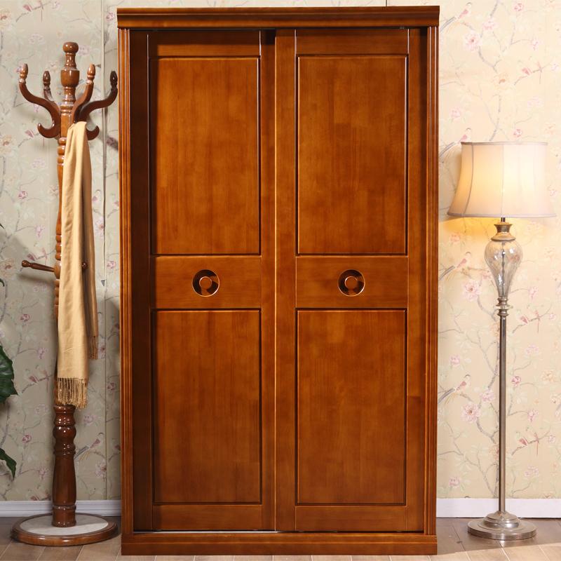 现代简约新中式全实木衣柜纯橡木推拉门加顶加高组装