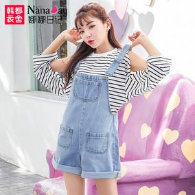 娜娜日记2017夏装新款女装宽松蓝色背带裤牛仔裤短裤女夏NL7025