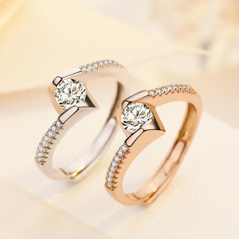 钻戒生日礼物首饰 尾婚戒开口简约戒指指环