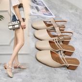 玛丽珍鞋粗跟学生单鞋复古2017女夏方头一字扣外出两穿包头凉拖鞋