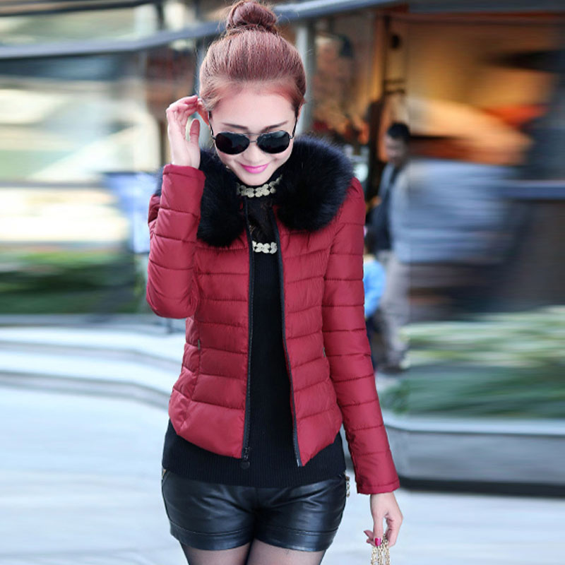 2014冬装新款羽绒棉衣女短款外套修身显瘦韩版大码毛领棉服小棉袄